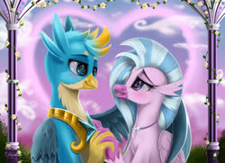 Size: 4500x3250 | Tagged: safe, artist:darksly, gallus, silverstream, classical hippogriff, hippogriff, spoiler:s09e26, digital art, female, fingers interlocked, gallstream, holding hands, male, royal guard gallus, shipping, smiling, straight
