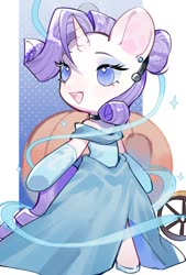 Size: 692x1024 | Tagged: safe, artist:kura, rarity, pony, unicorn, alternate hairstyle, bipedal, carriage, cinderella, clothes, cosplay, costume, crossover, cute, dress, ear piercing, female, gloves, long gloves, mare, no pupils, open mouth, piercing, princess, pumpkin, raribetes, solo