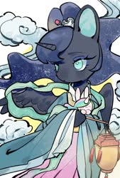 Size: 692x1024 | Tagged: safe, artist:kura, princess celestia, princess luna, rabbit, animal, chang'e, chinese mythology, clothes, cosplay, costume, cute, hair accessory, lantern, lunabetes, no pupils, paper lantern, solo