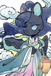 Size: 692x1024 | Tagged: safe, artist:kura, princess celestia, princess luna, rabbit, animal, chang'e, chinese mythology, clothes, cosplay, costume, cute, hair accessory, kimono (clothing), lantern, lunabetes, no pupils, paper lantern, solo