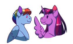 Size: 2048x1229 | Tagged: safe, artist:art-and-a-half, rainbow dash, twilight sparkle, alicorn, pegasus, pony, crumbs, cute, eating, female, lesbian, looking at each other, mare, shipping, simple background, smiling, spread wings, transparent background, twidash, twilight sparkle (alicorn), wings
