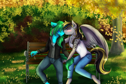 Size: 3000x2000 | Tagged: safe, artist:shamy-crist, oc, oc only, oc:fasty, oc:ink paint, anthro, pegasus, bench, clothes, female, jacket, kissing, leaves, lesbian, mare, pants, shirt, tree