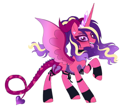 Size: 1000x859 | Tagged: safe, artist:unoriginai, princess cadance, alicorn, succubus, clothes, corset, devil tail, fangs, heart eyes, horns, nightmarified, simple background, siren song, snake tongue, solo, split tongue, succubus tail, tongue out, transparent background, wingding eyes