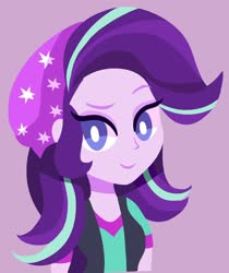Size: 1600x1901 | Tagged: safe, artist:mearinne, starlight glimmer, equestria girls, mirror magic, spoiler:eqg specials, beanie, eyelashes, hat, looking at you, pink background, raised eyebrow, simple background, simplistic art style, smiling, smirk, solo