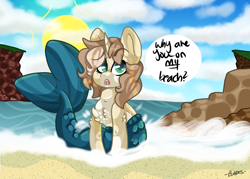 Size: 1208x866 | Tagged: safe, artist:bubble-trouble-owo, oc, oc:bubbles, merpony, unicorn, beach, female, solo