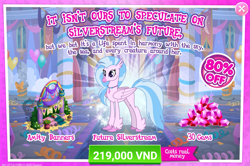 Size: 1551x1027 | Tagged: safe, silverstream, hippogriff, the last problem, spoiler:s09e26, advertisement, costs real money, crack is cheaper, gameloft, gem, official, older, older silverstream