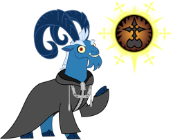 Size: 2947x2397 | Tagged: safe, artist:sketchmcreations, grogar, goat, clothes, cloven hooves, coat, crystal ball, grogar's orb, kingdom hearts, looking at you, male, nobody, organization xiii, simple background, smiling, transparent background, vector, xemnas