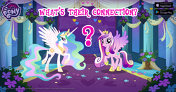 Size: 960x504 | Tagged: safe, princess cadance, princess celestia, alicorn, pony, bouquet, carpet, crown, cute, cutedance, duo, facebook, female, flower, gameloft, heart, jewelry, looking at you, mare, my little pony logo, question mark, raised hoof, regalia, smiling, smiling at you, text