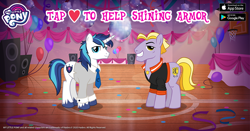 Size: 960x504 | Tagged: safe, idw, buck withers, shining armor, earth pony, pony, unicorn, spoiler:comic, spoiler:comic11, spoiler:comic12, balloon, basketball court, basketball net, confetti, court, disco ball, duo, facebook, gameloft, heart, idw showified, jewelry, looking at you, male, my little pony logo, necklace, necktie, smiling, smiling at you, speakers, stallion, teen shining armor, text, younger
