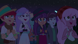 Size: 1920x1080 | Tagged: safe, screencap, alizarin bubblegum, ginger owlseye, hunter hedge, raspberry lilac, snow flower, track starr, zephyr breeze, equestria girls, equestria girls series, sunset's backstage pass!, spoiler:eqg series (season 2), background human, clothes, fedora, female, hat, male, midriff, night, night sky, sky, tanktop