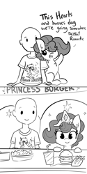 Size: 2250x4500 | Tagged: safe, artist:tjpones, oc, oc only, oc:brownie bun, oc:richard, earth pony, human, pony, horse wife, bald, burger, chest fluff, comic, dialogue, female, food, french fries, grayscale, hay burger, hearts and hooves day, holiday, jewelry, male, mare, monochrome, necklace, oc x oc, part of a set, pearl necklace, romantic, salad, shipping, simple background, softdrink, straight, tiara, valentine's day, white background