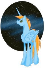 Size: 1206x1893 | Tagged: safe, artist:whitewing1, oc, oc:harmony star, alicorn, pony, male, solo, space, stallion