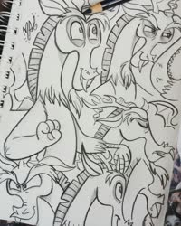 Size: 1024x1280 | Tagged: safe, artist:wandering-nicky, discord, draconequus, doodle, male, monochrome, traditional art