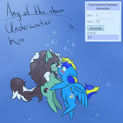 Size: 500x500 | Tagged: safe, artist:kaggy009, oc, oc only, oc:peppermint pattie (unicorn), pegasus, pony, unicorn, ask peppermint pattie, female, kissing, mare, underwater