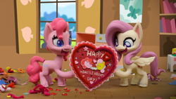 Size: 1920x1080   Tagged: safe, screencap, fluttershy, pinkie pie, earth pony, pegasus, pony, my little pony: pony life, valentine's day card (short), hearts and hooves day, stop motion, valentine's day card