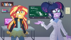Size: 1280x720 | Tagged: safe, artist:wubcakeva, kiwi lollipop, sci-twi, sunset shimmer, supernova zap, twilight sparkle, human, equestria girls, angry, chalkboard, clothes, computer, duo focus, grin, jacket, k-lo, lab coat, laboratory, laptop computer, midnight sparkle, pants, postcrush, redraw, smiling, su-z