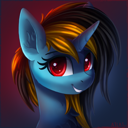 Size: 2000x2000 | Tagged: safe, artist:atlas-66, oc, oc only, pony, unicorn, bust, chest fluff, portrait, red eyes, solo