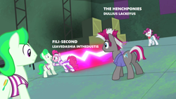 Size: 1280x720 | Tagged: safe, edit, edited screencap, screencap, blow dry, fili-second, neon brush, pinkie pie, the unconditioner, roadrunner, power ponies (episode), canis latinicus, duality, implied rainbow dash, looney tunes, power ponies, scientific name, speed trail, text