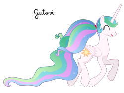Size: 3734x2801 | Tagged: safe, artist:gutovi, princess celestia, alicorn, pony, cute, cutelestia, happy, missing accessory, pigtails, simple background, solo, transparent background, trotting