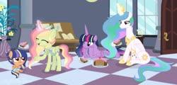 Size: 1280x616 | Tagged: safe, artist:pink-soul27, princess celestia, twilight sparkle, oc, oc:spring rose, oc:star splash, alicorn, changepony, hybrid, pegasus, pony, baby, baby pony, base used, cake, food, magic, offspring, parent:flash sentry, parent:princess celestia, parent:thorax, parent:twilight sparkle, parents:flashlight, parents:thoralestia, twilight sparkle (alicorn)