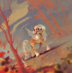 Size: 1961x1995 | Tagged: safe, artist:dearmary, oc, oc only, earth pony, pony, leaves, outdoors, profile, solo, tree