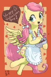 Size: 1200x1800 | Tagged: safe, artist:yanamosuda, fluttershy, pegasus, pony, alternate hairstyle, apron, bipedal, blushing, bow, bowl, chocolate, clothes, cute, female, food, hair bow, heart, holiday, hoof hold, looking at you, mare, mixing bowl, open mouth, pigtails, shyabetes, solo, spread wings, twintails, valentine's day, wings