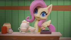 Size: 1673x935 | Tagged: safe, screencap, fluttershy, pegasus, pony, my little pony: pony life, valentine's day card (short), :i, cup, food, solo, stop motion, tea, teacup, teapot