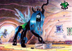 Size: 3904x2768 | Tagged: safe, artist:olgfox, derpy hooves, queen chrysalis, starlight glimmer, bag, cave, dart, dartboard of hate, disappointed, female, mare, package, saddle bag, traditional art, wax