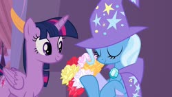Size: 1280x720 | Tagged: safe, artist:themexicanpunisher, edit, edited screencap, screencap, trixie, twilight sparkle, alicorn, pony, the summer sun setback, spoiler:s09e17, bouquet, female, flower, hearts and hooves day, holiday, lesbian, shipping, twilight sparkle (alicorn), twixie, valentine's day