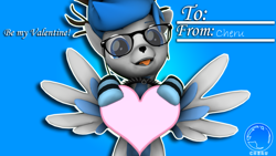 Size: 3840x2160 | Tagged: safe, artist:cherusfm, oc, oc only, oc:cheru, deer, deer pony, hybrid, original species, peryton, 3d, antlers, card, clothes, collar, cute, deer oc, glasses, heart, hearts and hooves day, holding heart, holiday, socks, source filmmaker, spiked collar, striped socks, valentine's day, watermark, weapons-grade cute