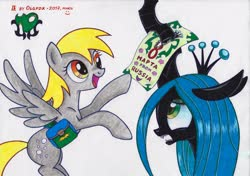 Size: 3921x2758   Tagged: safe, artist:olgfox, derpy hooves, queen chrysalis, changeling, changeling queen, pegasus, pony, bag, cyrillic, duo, duo female, female, international women's day, mare, open mouth, russian, saddle bag, traditional art