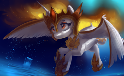 Size: 4400x2700 | Tagged: safe, artist:auroriia, daybreaker, alicorn, pony, a royal problem, absurd resolution, bubble, crown, female, helmet, high res, hoof shoes, horn, jewelry, mare, regalia, solo, spread wings, underwater, water, wings