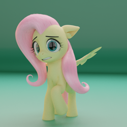 Size: 1280x1280 | Tagged: safe, artist:acrylic, artist:neuronexyt, fluttershy, pegasus, pony, 3d, female, floppy ears, gritted teeth, looking at you, mare, model:djthed, nervous, raised hoof, solo, spread wings, standing, three quarter view, wings, worried