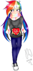 Size: 854x1851 | Tagged: safe, artist:drawcraft123, rainbow dash, human, clothes, converse, cute, dashabetes, female, heart, holiday, humanized, scarf, shoes, simple background, solo, transparent background, tsunderainbow, tsundere, valentine's day