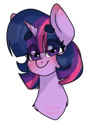 Size: 729x988   Tagged: safe, artist:catnipmonster, twilight sparkle, pony, beanbrows, blushing, bust, cheek fluff, chest fluff, cute, eye clipping through hair, eyebrows, female, looking at you, mare, portrait, simple background, solo, twiabetes, white background