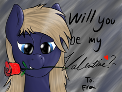 Size: 1600x1200 | Tagged: safe, artist:kalashnikitty, oc, pony, bedroom eyes, cute, flower, flower in mouth, holiday, male, mouth hold, rose, rose in mouth, stallion, valentine's day, valentine's day card