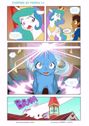 Size: 6197x8760 | Tagged: safe, artist:jeremy3, princess celestia, trixie, oc, oc:miss becky, alicorn, earth pony, pony, comic:everfree, comic:everfree my friend, asking for it, blast, cast, clothes, comic, energy blast, idiot ball, magic, magic beam, magic blast, school