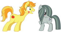Size: 2091x1084 | Tagged: safe, braeburn, marble pie, earth pony, pony, blushing, braebetes, braeble, cute, excited, female, first kiss, hearts and hooves day, holiday, kiss on the cheek, kissing, lipstick mark, looking at each other, male, marblebetes, mare, shipping, shy, smiling, stallion, straight, turned on, valentine's day