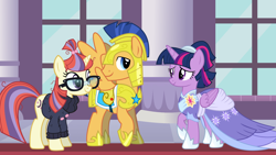 Size: 2064x1161 | Tagged: safe, flash sentry, moondancer, twilight sparkle, alicorn, pony, the last problem, spoiler:s09e26, armor, canterlot castle, clothes, coronation dress, dress, episode idea, fanfic idea, flashdancer (ship), friendship, glasses, hearts and hooves day, holiday, looking at each other, second coronation dress, shipper on deck, shirt, smiling, twilight sparkle (alicorn), twilight the shipper, valentine's day