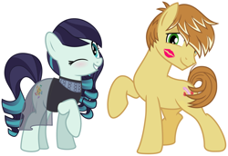 Size: 2078x1426 | Tagged: safe, coloratura, feather bangs, earth pony, pony, blushing, clothes, colorabangs, female, hearts and hooves day, holiday, kiss on the cheek, kissing, lipstick mark, male, mare, one eye closed, shipping, smiling, stallion, straight, valentine's day, wink