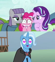 Size: 1280x1436 | Tagged: safe, edit, edited screencap, screencap, maud pie, pinkie pie, starlight glimmer, trixie, pony, magic duel, rock solid friendship, alicorn amulet, bag, female, heart eyes, lesbian, mauxie, saddle bag, shipping, shipping domino, startrix, trixie gets all the mares, trixiepie, wingding eyes