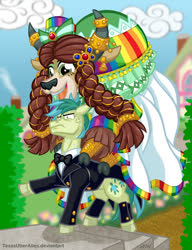 Size: 720x937 | Tagged: safe, artist:texasuberalles, sandbar, yona, earth pony, pony, yak, braid, clothes, cloven hooves, colored hooves, dress, female, hat, horn, horn jewelry, jewelry, male, older, older sandbar, shipping, smiling, stallion, straight, sweat, this will end in broken back, this will end with broken spine, tuxedo, vein bulge, wedding dress, yaks riding ponies, yonabar
