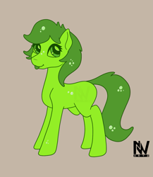 Size: 1179x1360 | Tagged: safe, artist:nightwind-arts, oc, oc only, oc:wiggle, goo, goo pony, original species, pony, :p, bubble, female, green slime, mare, simple background, slime, slimepony, solo, standing, tongue out, transluscent