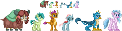 Size: 854x222 | Tagged: safe, artist:akumath, gallus, ocellus, sandbar, silverstream, smolder, yona, changedling, changeling, classical hippogriff, dragon, earth pony, griffon, hippogriff, pony, yak, dragoness, female, male, pixel art, simple background, sprite, student six, transparent background