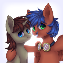 Size: 2000x2000 | Tagged: safe, artist:avrameow, oc, oc:griffin, pegasus, pony, unicorn, colt, goggles, male, selfie, ych result
