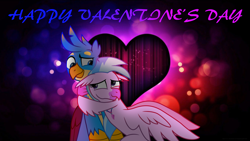 Size: 3840x2160 | Tagged: safe, artist:ejlightning007arts, gallus, silverstream, griffon, hippogriff, cute, female, gallstream, heart, hearts and hooves day, holiday, hug, looking at each other, male, shipping, smiling, straight, valentine's day