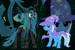 Size: 1200x800 | Tagged: safe, artist:cparty232, queen chrysalis, trixie, female, lesbian, shipping, trixalis, wallpaper