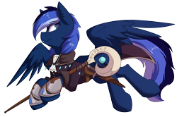 Size: 4084x2708 | Tagged: safe, artist:beardie, oc, oc only, oc:auron, pegasus, pony, clothes, flying, simple background, solo, staff, transparent background