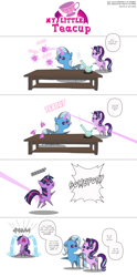 Size: 1764x3566 | Tagged: safe, artist:perfectblue97, starlight glimmer, trixie, twilight sparkle, alicorn, pony, unicorn, censored vulgarity, comic, crying, cup, drunk, female, grawlixes, mare, ocular gushers, out of character, pointy ponies, speech bubble, teacup, that pony sure does love teacups, twilight sparkle (alicorn), wrong