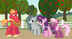 Size: 2064x1123 | Tagged: safe, big macintosh, cheerilee, marble pie, sugar belle, earth pony, pony, unicorn, apple, apple tree, awkward, concerned, confused, female, food, friendship, friendshipping, happy ending, looking at each other, male, shipping, shocked, shocked expression, smiling, straight, stunned, sugarmac, surprised, surprised face, sweet apple acres, tree, worried, youtube link, youtube link in the description